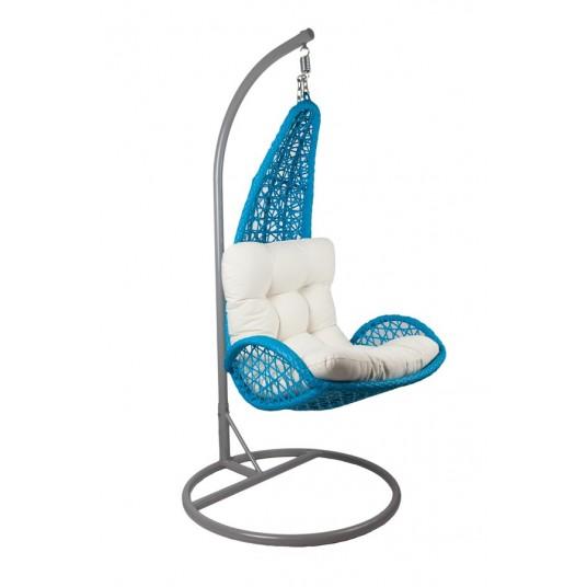 Fotel ogrodowy wiszący - technorattan niebieski bujak ,huśtawka