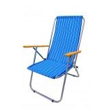 Leżak dwupozycyjny stalowy niebieskie paseczki