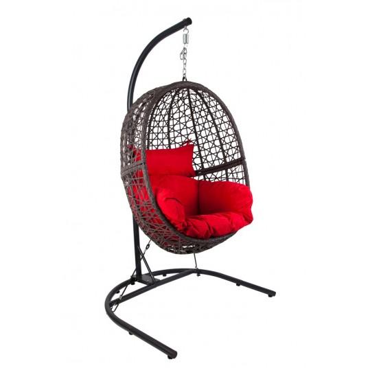 Fotel wiszący - Kokon - technorattan wenge