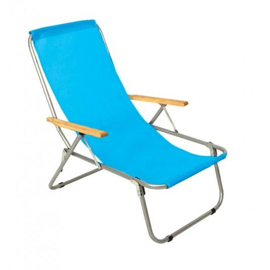 Leżak jednopozycyjny stalowy niebieski