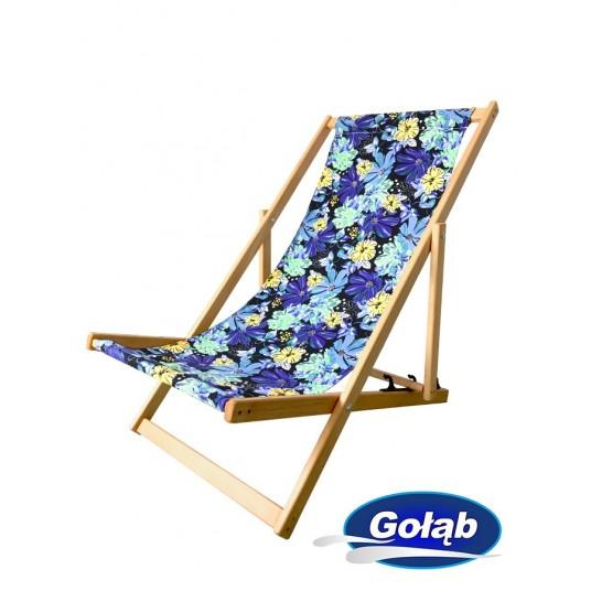 Leżak 3 pozycyjny drewniany , tapicerka w kwiaty