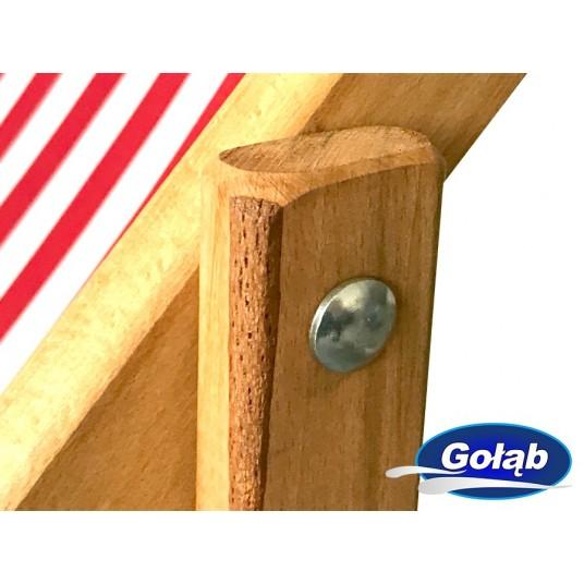 Leżak 3 pozycyjny drewniany impregnowany biało-szare pasy