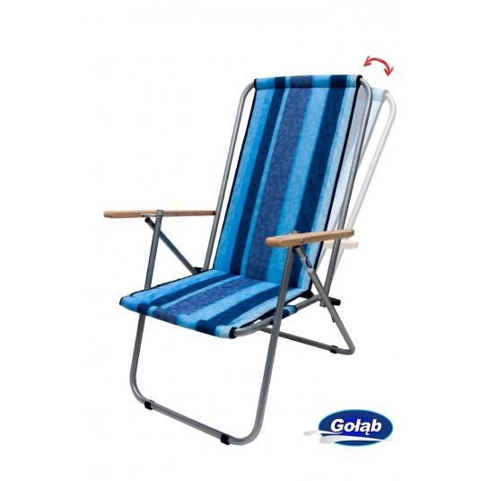 Leżak dwupozycyjny stalowy tkanina w pasy niebieskie
