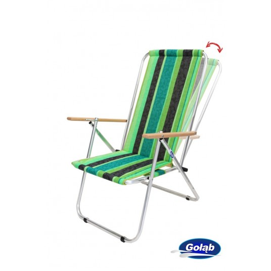 Leżak dwupozycyjny stalowy tkanina w pasy zielone