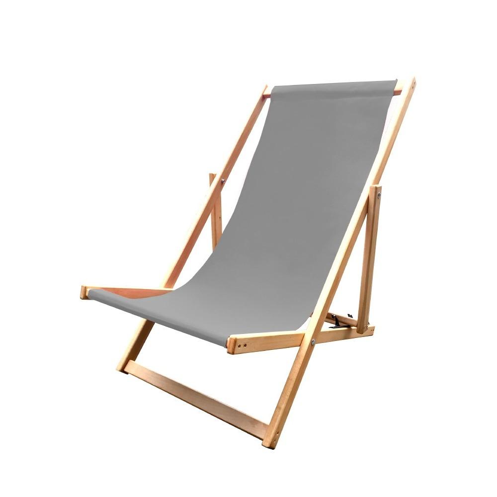 Leżak 3 pozycyjny drewniany szara tapicerka