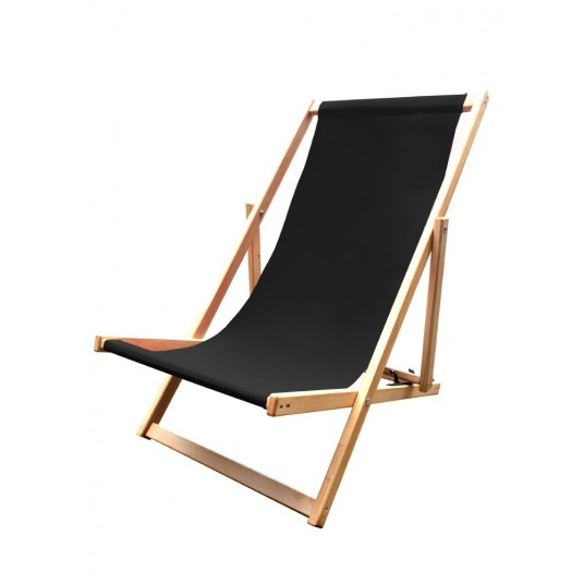 Leżak 3 pozycyjny drewniany impregnowany, czarna tapicerka
