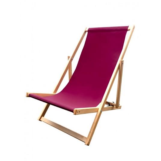 Leżak 3 pozycyjny drewniany impregnowany, tapicerka bordo