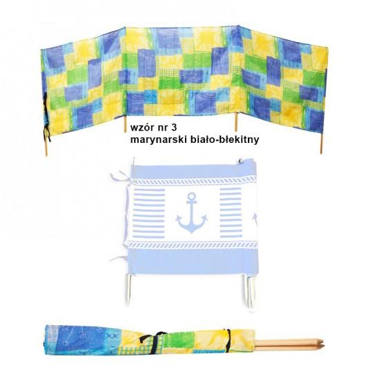 Parawan plażowy marynarski biało-błękitny 9m