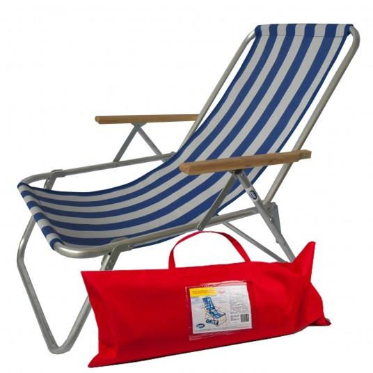 Leżak jednopozycyjny aluminiowy z podłokietnikami składany do torby siateczka pasy