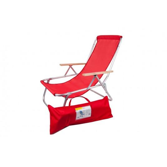 Leżak jednopozycyjny aluminiowy z podłokietnikami składany do torby siateczka czerwony