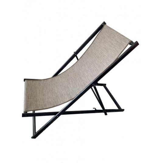 Leżak 3 pozycyjny MAXI aluminiowy stelaż czarny postarzany tapicerka cappucino