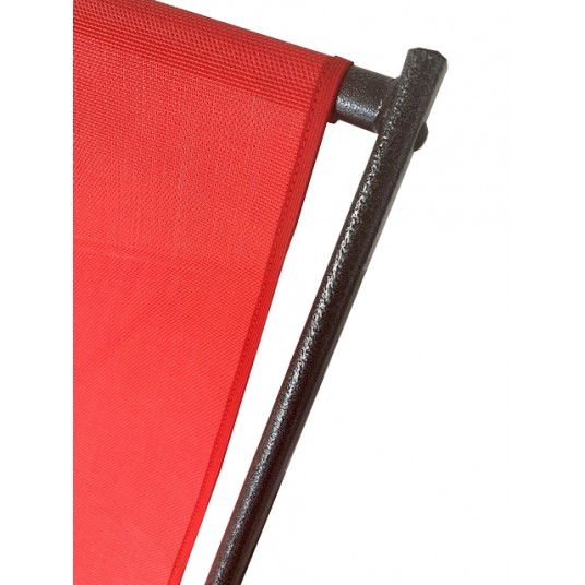 Leżak 3 pozycyjny MAXI aluminiowy stelaż czarny postarzany czerwona tapicerka