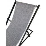 Leżak 3 pozycyjny MAXI aluminiowy stelaż czarny postarzany tapicerka granatowo-szara