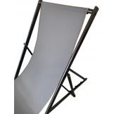 Leżak 3 pozycyjny MAXI aluminiowy stelaż czarny postarzany tapicerka grafitowa