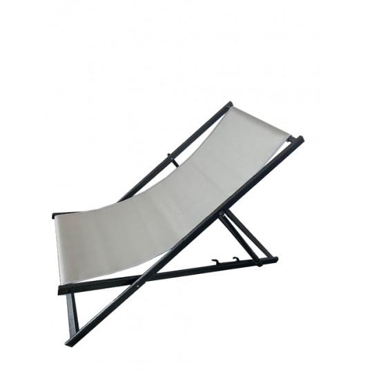 Leżak 3 pozycyjny MAXI aluminiowy stelaż czarny postarzany tapicerka srebrna