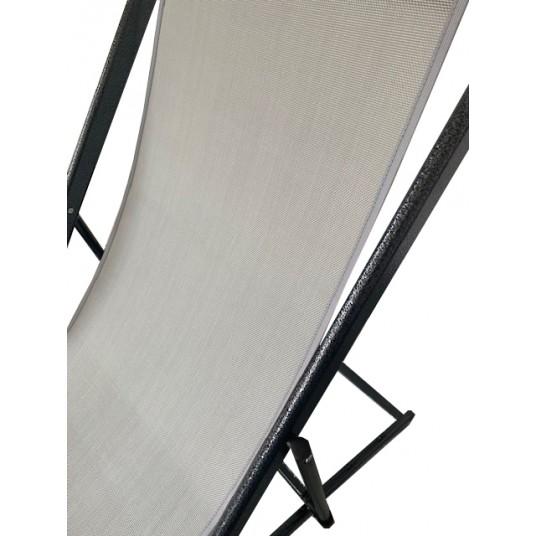 Leżak 3 pozycyjny MAXI aluminiowy stelaż czarny postarzany tapicerka szara