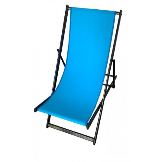 Leżak 3 pozycyjny MAXI aluminiowy stelaż czarny tapicerka turkusowa