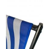 Leżak 3 pozycyjny MAXI aluminiowy stelaż czarny postarzany tapicerka w pasy biało granatowe