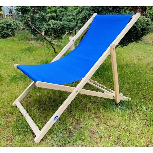 Leżak 3 pozycyjny drewniany, kolor naturalne drewno bukowe, tapicerka chabrowa