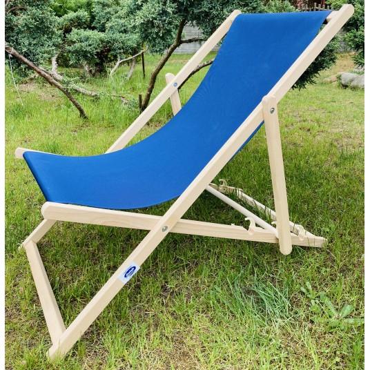 Leżak 3 pozycyjny drewniany impregnowany, tapicerka GRANATOWA