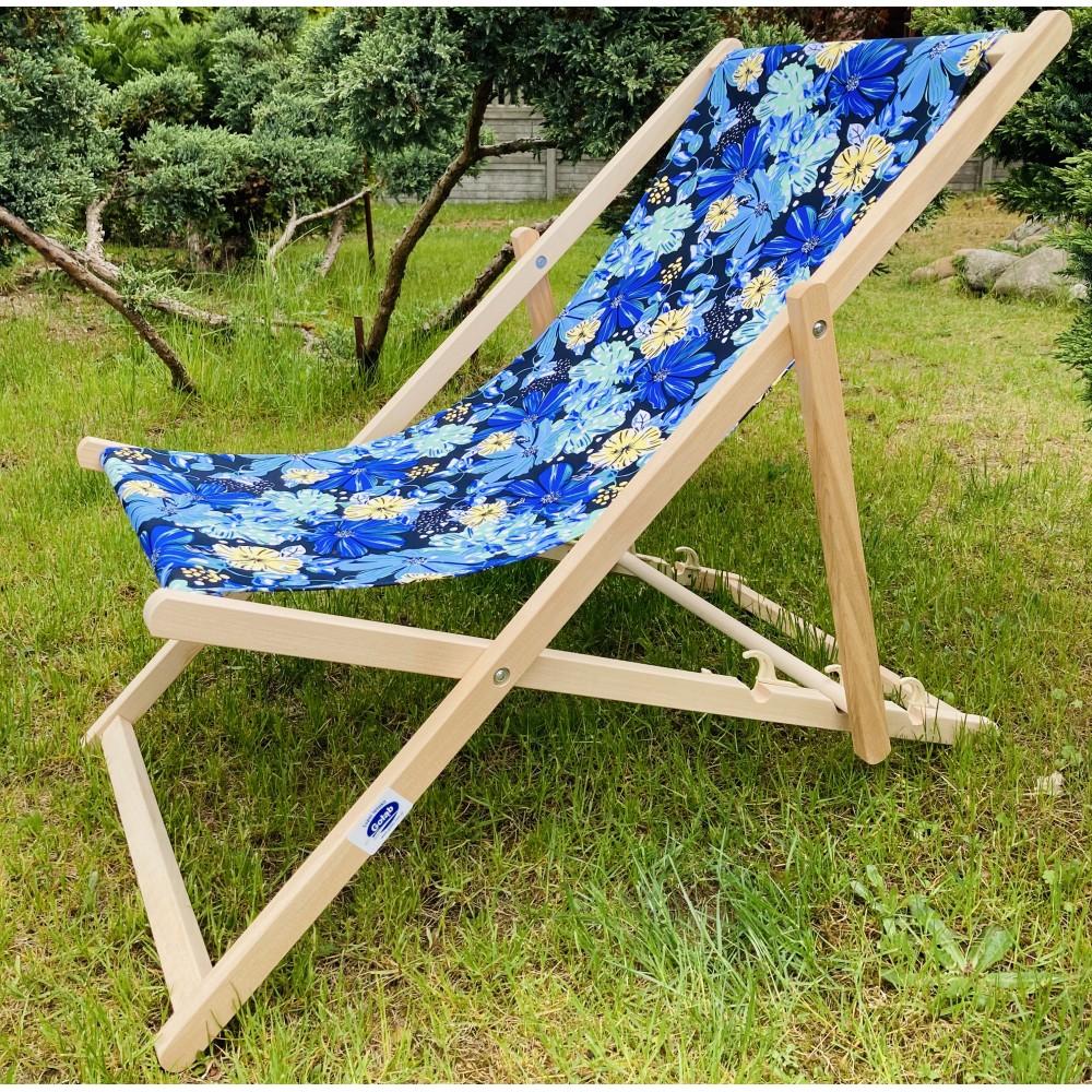Leżak 3 pozycyjny drewniany, kolor naturalne drewno bukowe, tapicerka w kwiaty