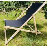Leżak 3 pozycyjny drewniany, kolor naturalne drewno bukowe, tapicerka czarna
