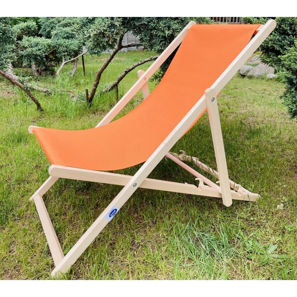 Leżak 3 pozycyjny drewniany, kolor naturalne drewno bukowe, tapicerka pomarańczowa