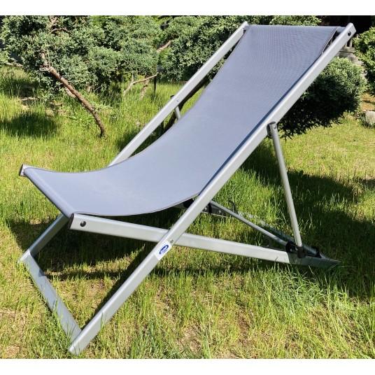 Leżak 3 pozycyjny MAXI aluminiowy stelaż srebrny tapicerka grafitowa