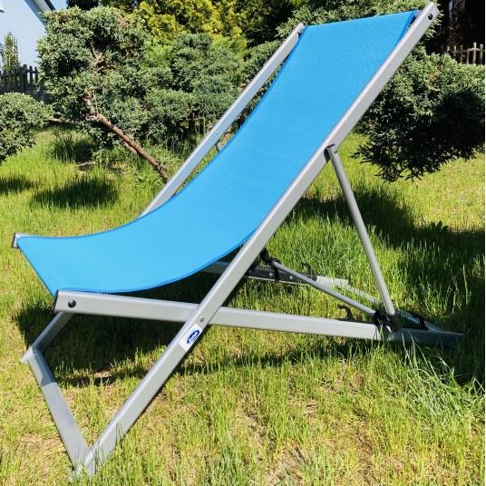 Leżak 3 pozycyjny MAXI aluminiowy stelaż srebrny tapicerka turkusowa