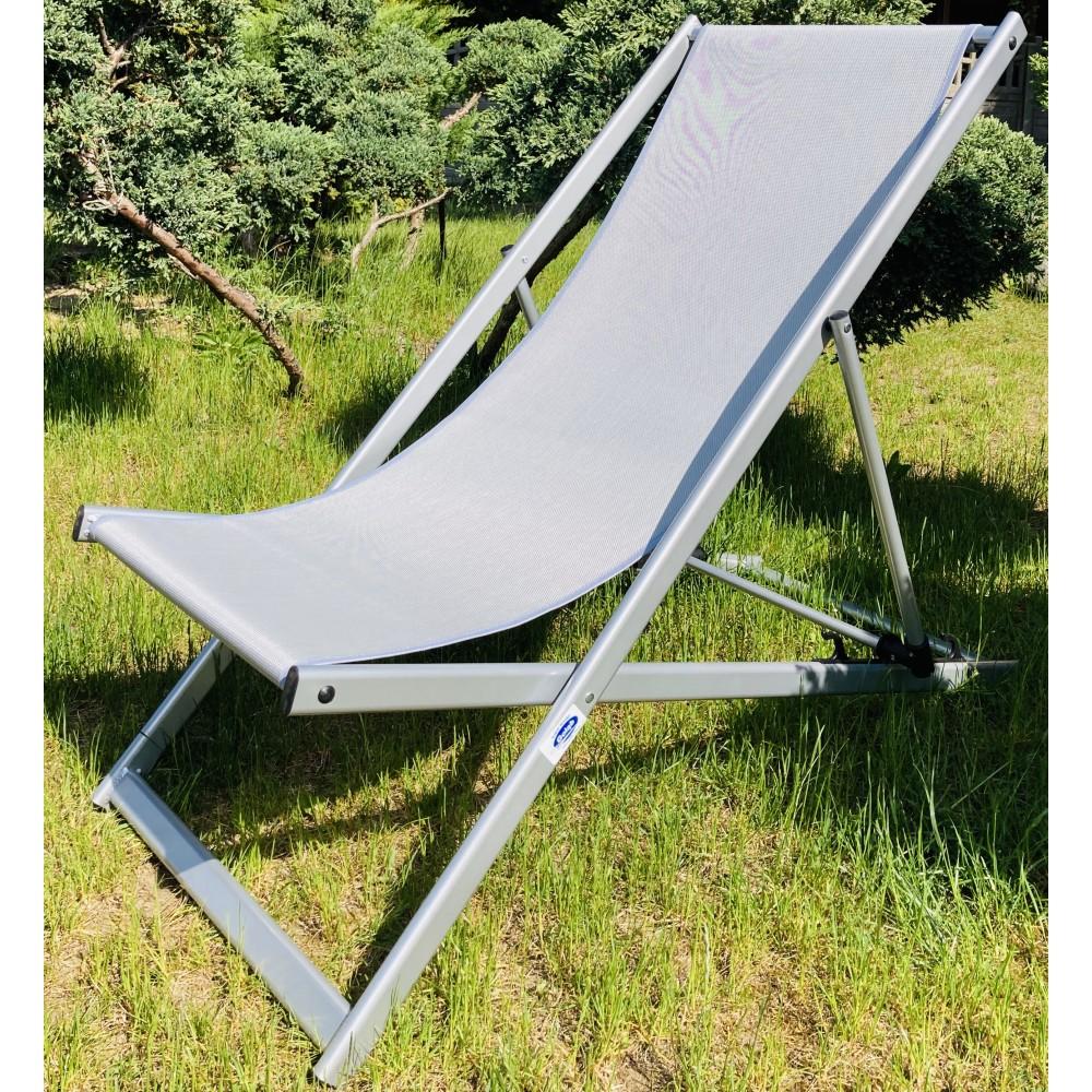 Leżak 3 pozycyjny MAXI aluminiowy stelaż srebrny tapicerka szara