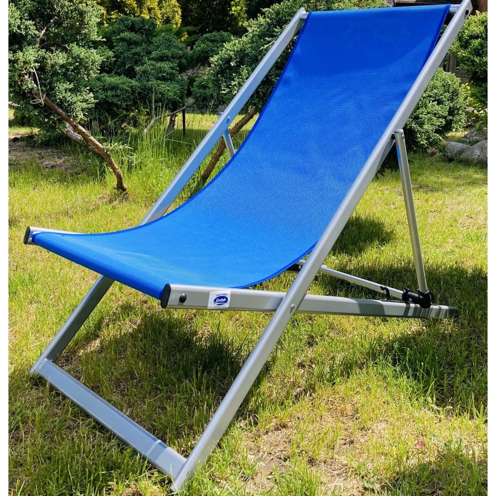 Leżak 3 pozycyjny MAXI aluminiowy stelaż srebrny tapicerka chabrowa