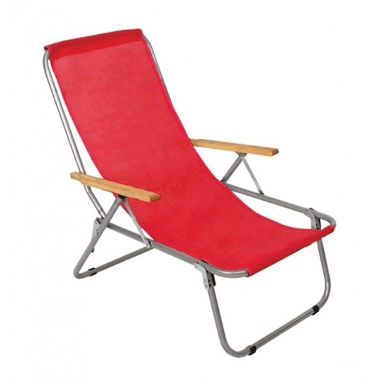 Leżak jednopozycyjny stalowy czerwona siatka
