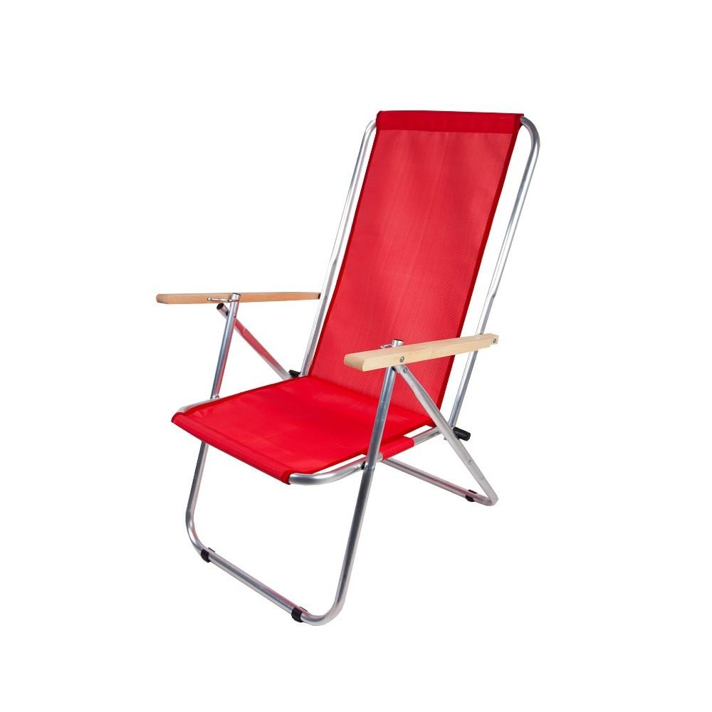 Leżak dwupozycyjny stalowy czerwony