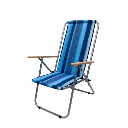 Leżak dwupozycyjny stalowy tkanina w pasy